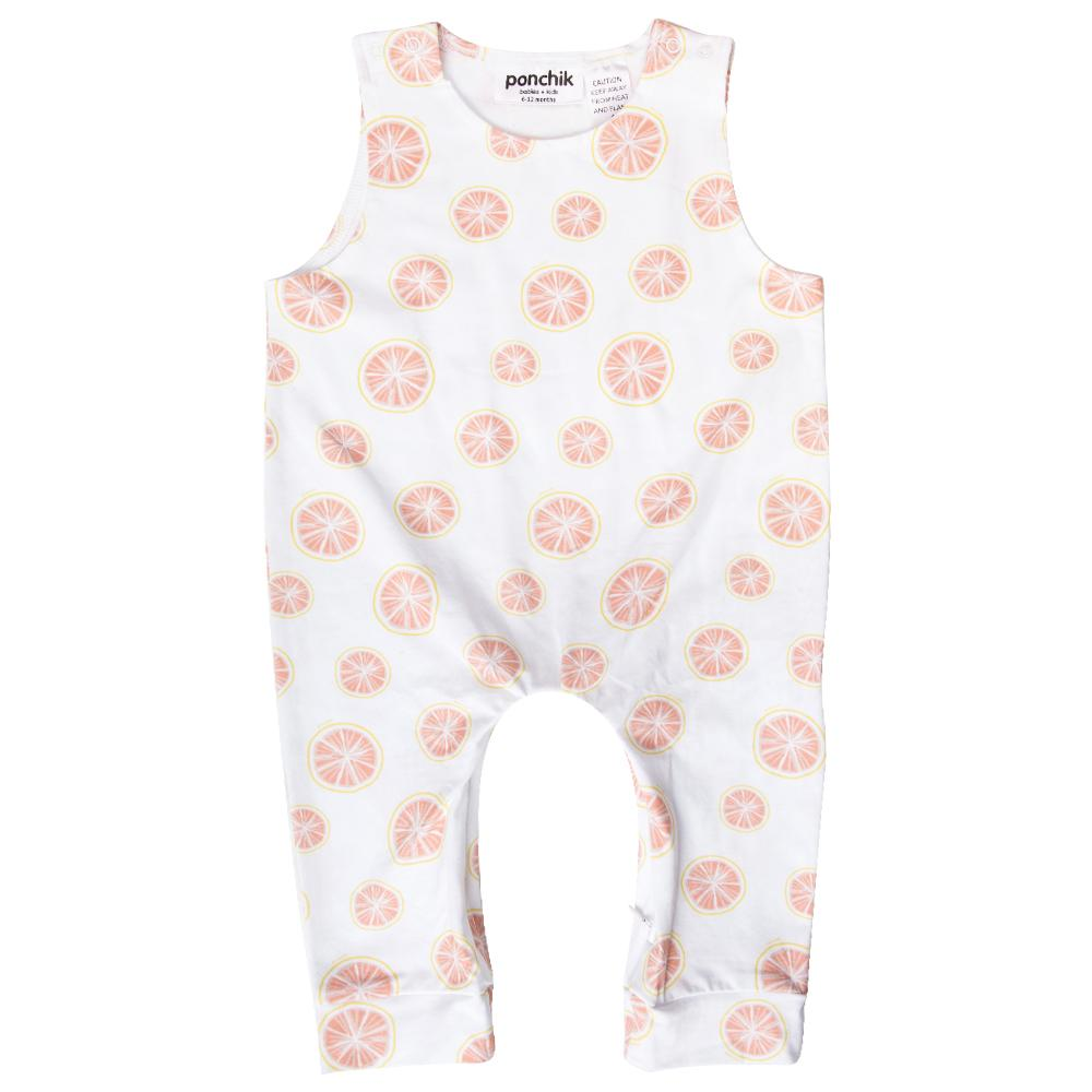 Ponchik Short Sleeve Overalls - Pink Grapefruit