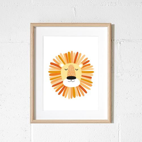 Sprout and Sparrow Kids Wall Art  Orange Lion