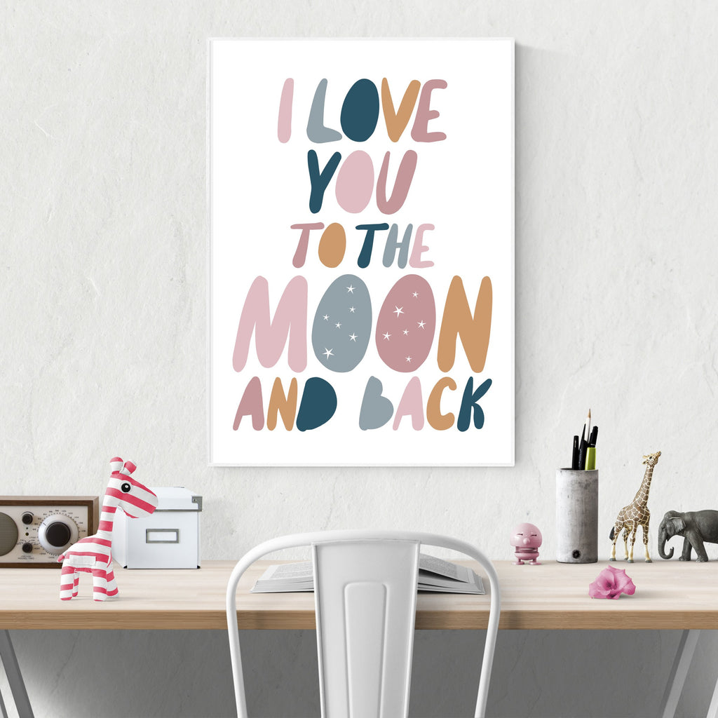 Sprout and Sparrow Kids Wall Art - I Love You To The Moon And Back Dusty Pink