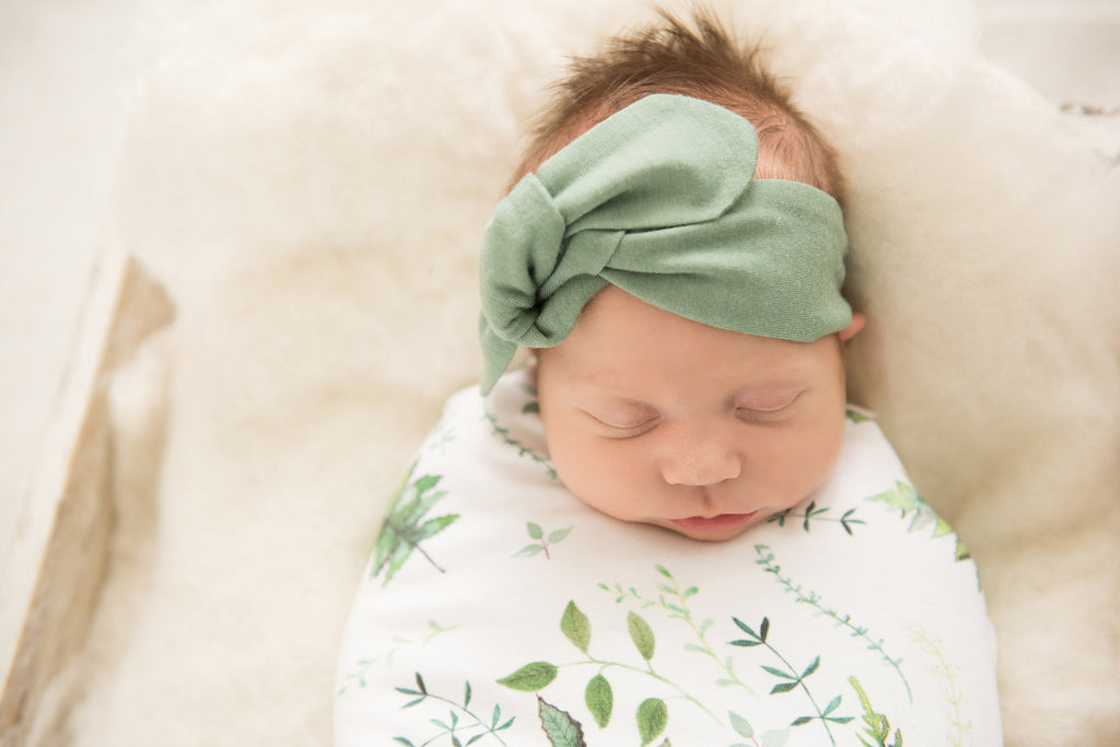 Snuggle Hunny Kids Baby Topknot Bow - Olive