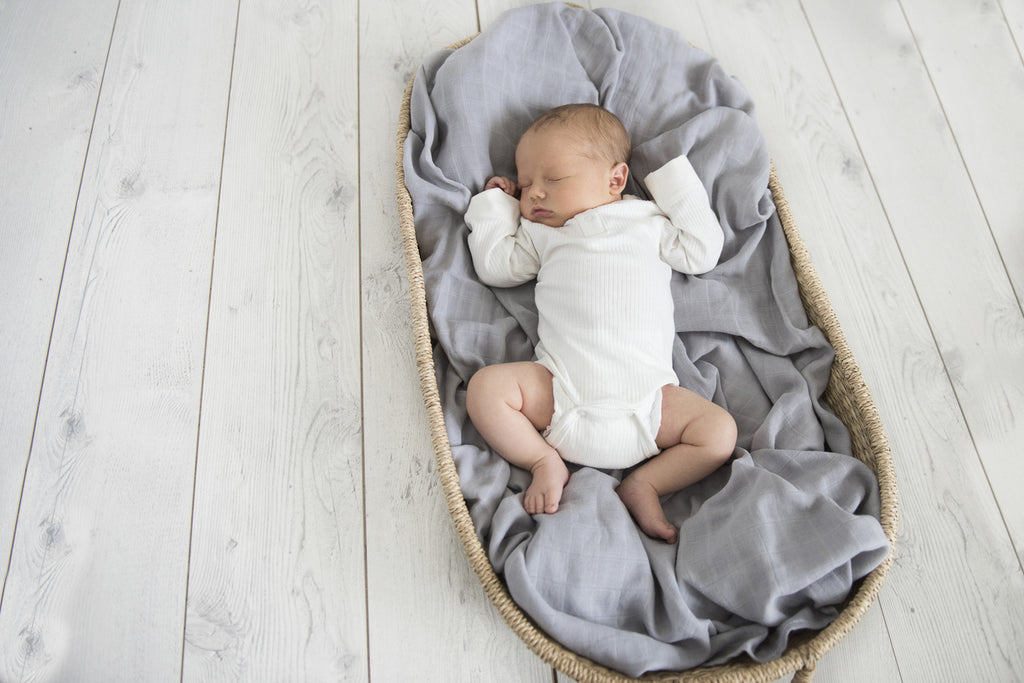 Snuggle Hunny Kids Organic Baby Muslin Swaddle Wrap- Storm