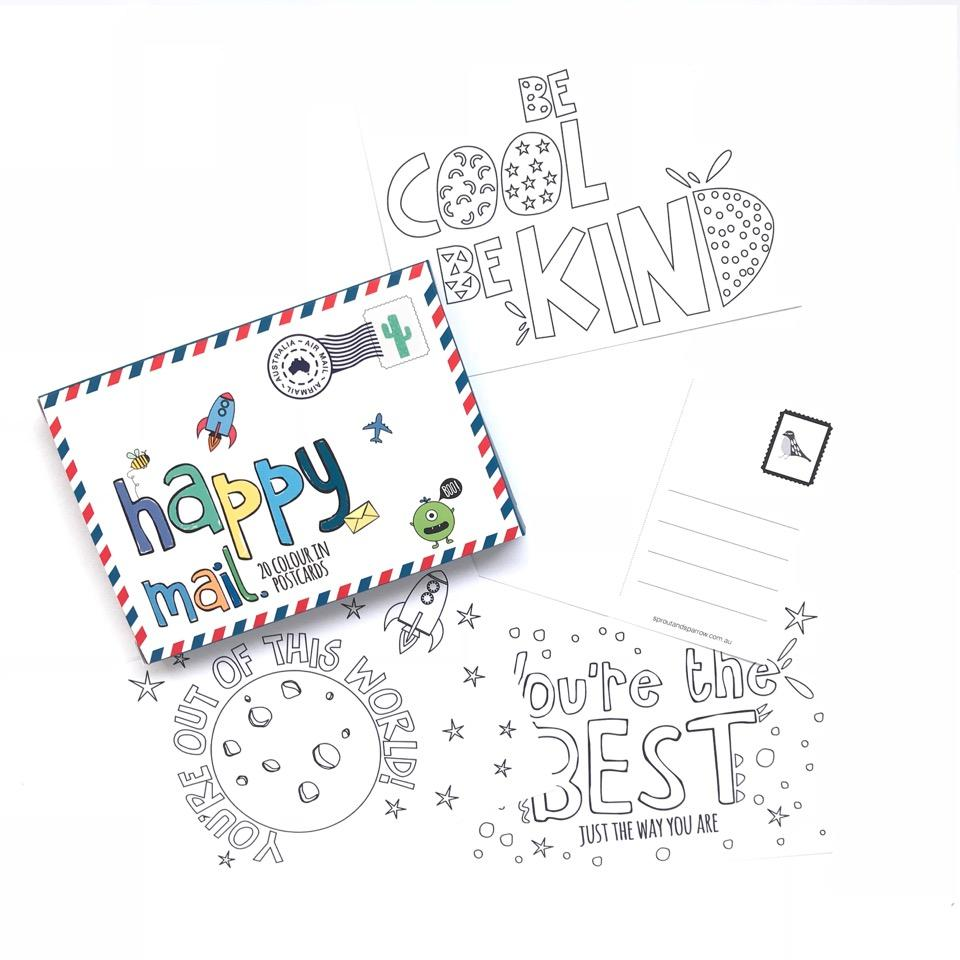 Sprout & Sparrow - Happy Mail 20 Colour In Postcards - Blue