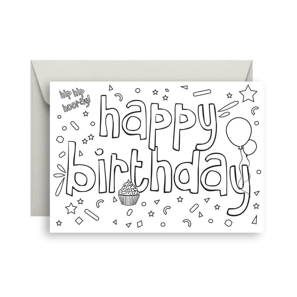 Sprout & Sparrow - Happy Birthday Colour In Greeting Card