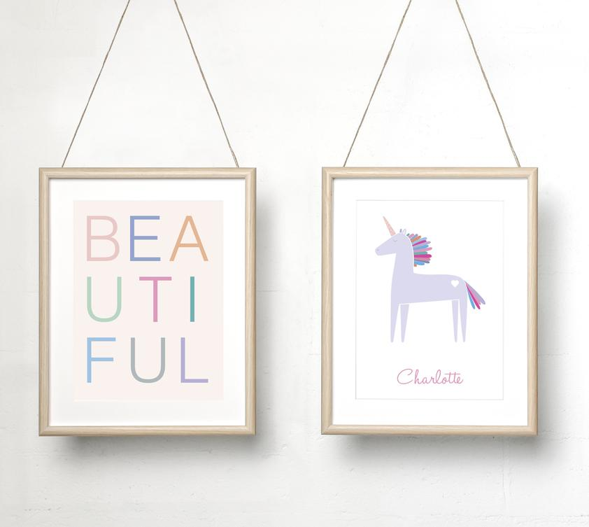 Sprout and Sparrow 'Beautiful' Kids Wall Art  Coloured