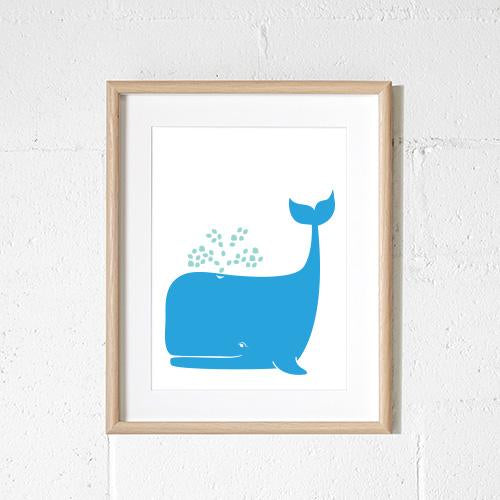 Sprout and Sparrow Whale Kids Wall Art  Blue