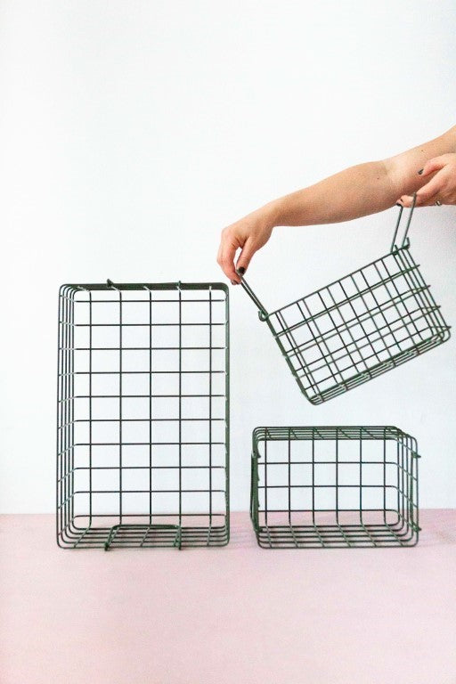 Mustard Made Lockers  Metal Basket Pack in Olive