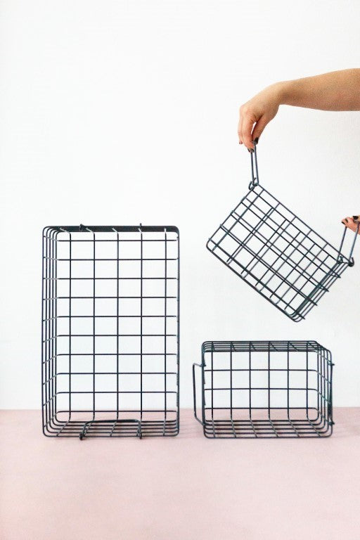 Mustard Made Lockers  Metal Basket Pack in Slate
