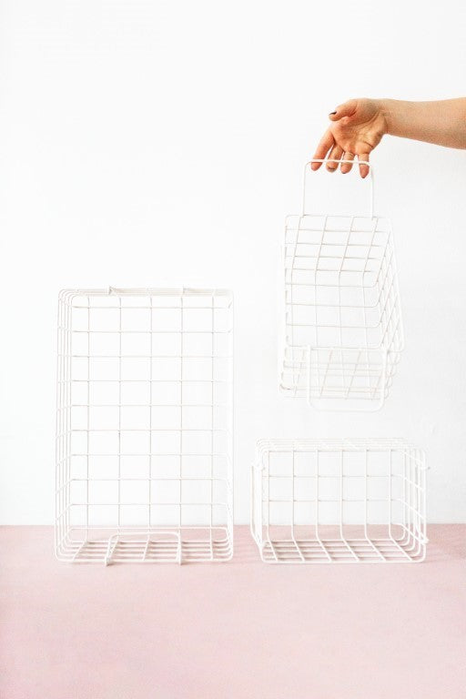 Mustard Made Lockers  Metal Basket Pack in White