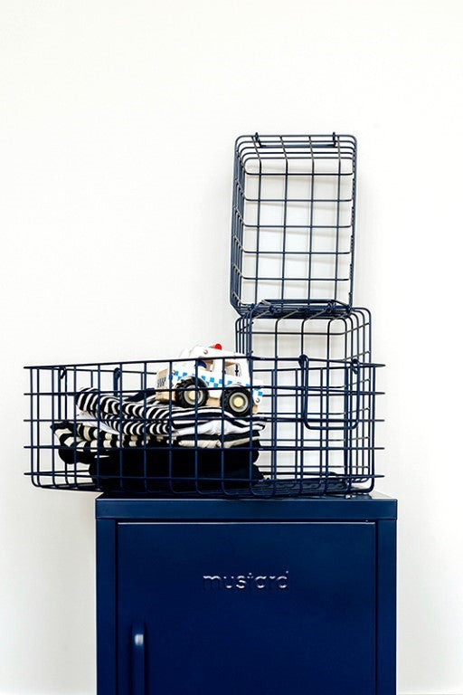 Mustard Made Lockers  Metal Basket Pack in Navy