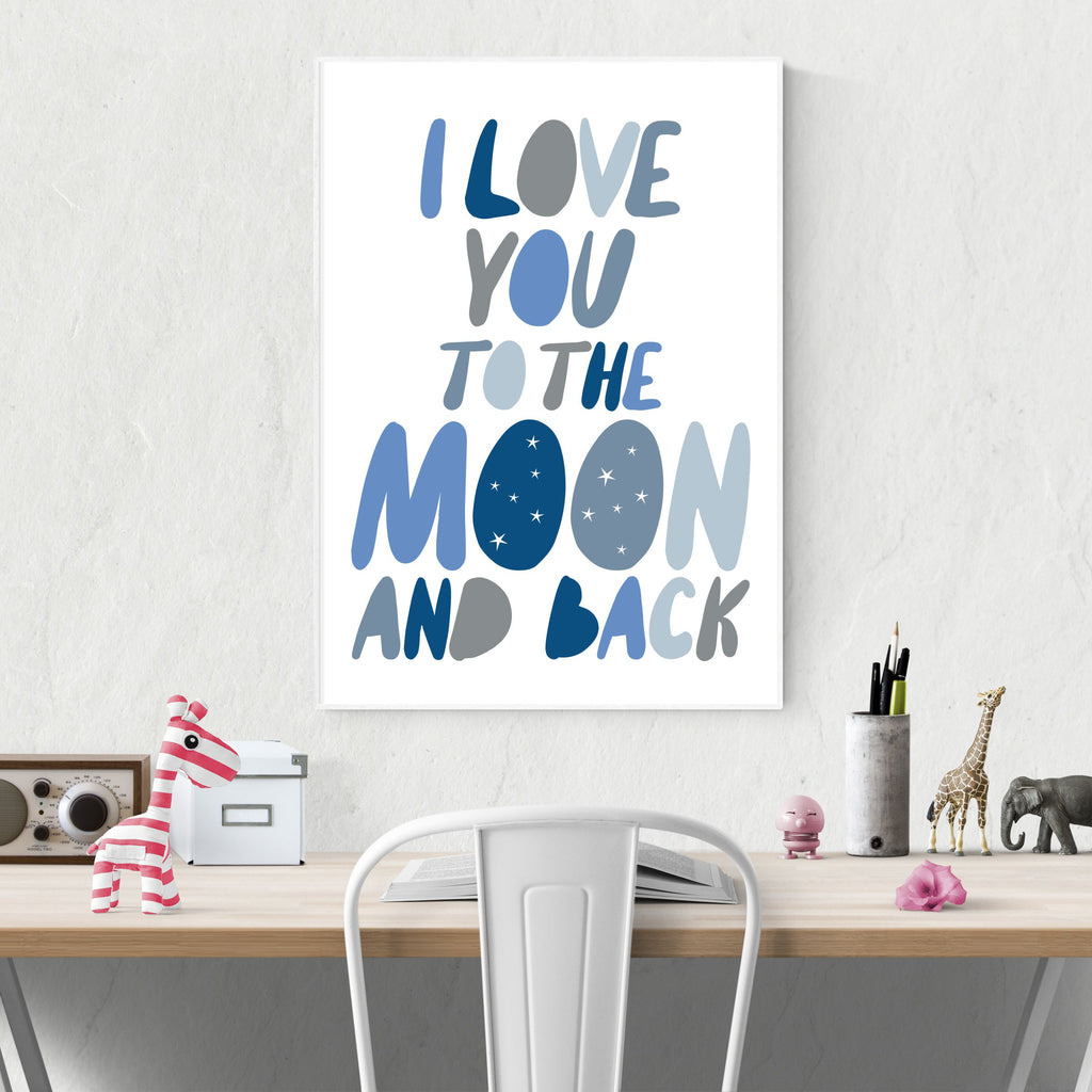 Sprout and Sparrow Kids Wall Art - I Love You To The Moon And Back Blue