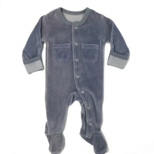 Loved Baby Organic Velour Footed Onesie Light Grey