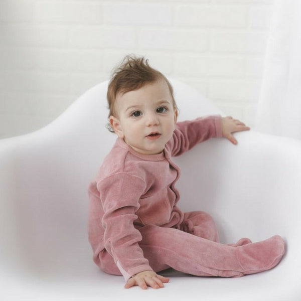 Loved Baby Organic Velour Footed Onesie  Mauve