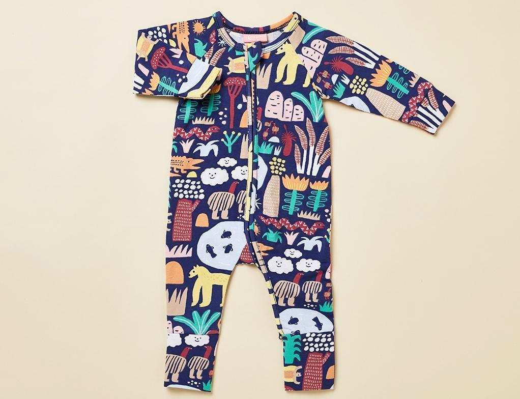 Halcyon Nights Baby Clothes  Kakadu Longsleeve Onesie Zip Suit