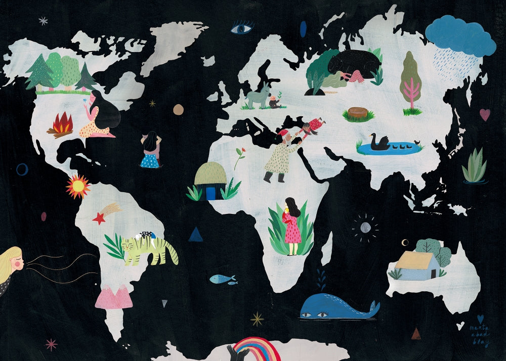Marta Abad Blay Kids Wall Art  We Are One World Map