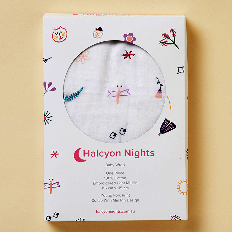 Halcyon Nights Young Folks Embroidered Print Muslin Baby Swaddle Wrap