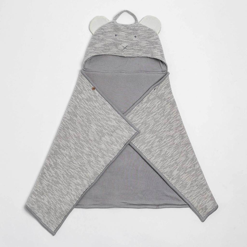 Zestt Organics - Organic Cotton Kids Travel Blanket Grey Bear
