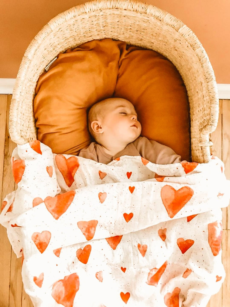 Adaline Bamboo Baby Swaddle Wrap Red Hearts