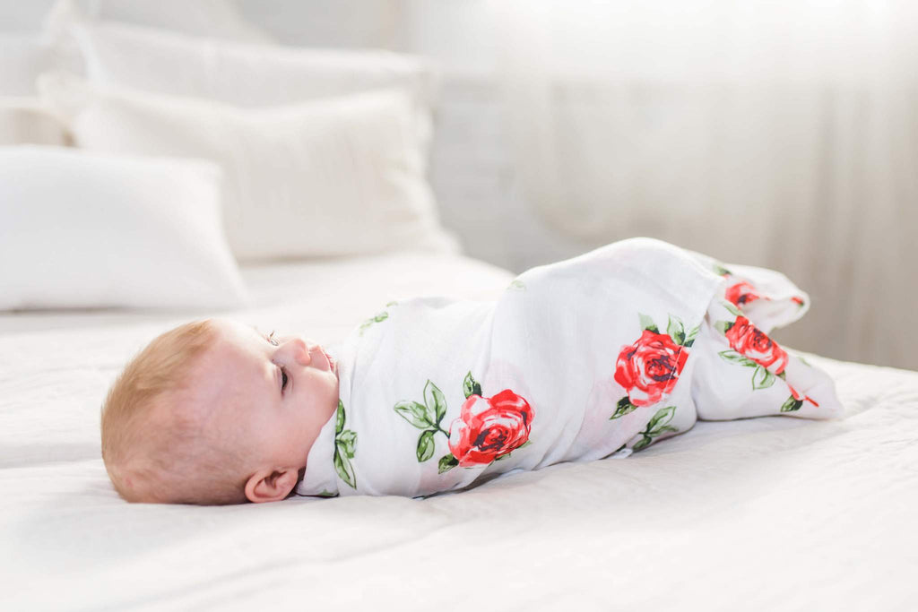 Adaline Bamboo Baby Swaddle Wrap Red Rose