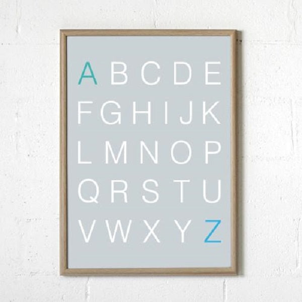 Sprout and Sparrow Alphabet Print Grey