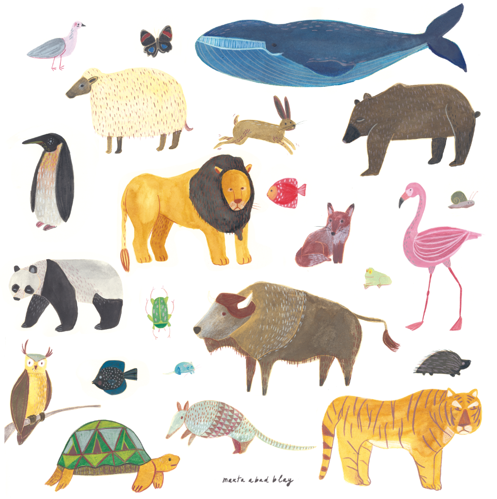 Marta Abad Blay Kids Art Prints - Animals