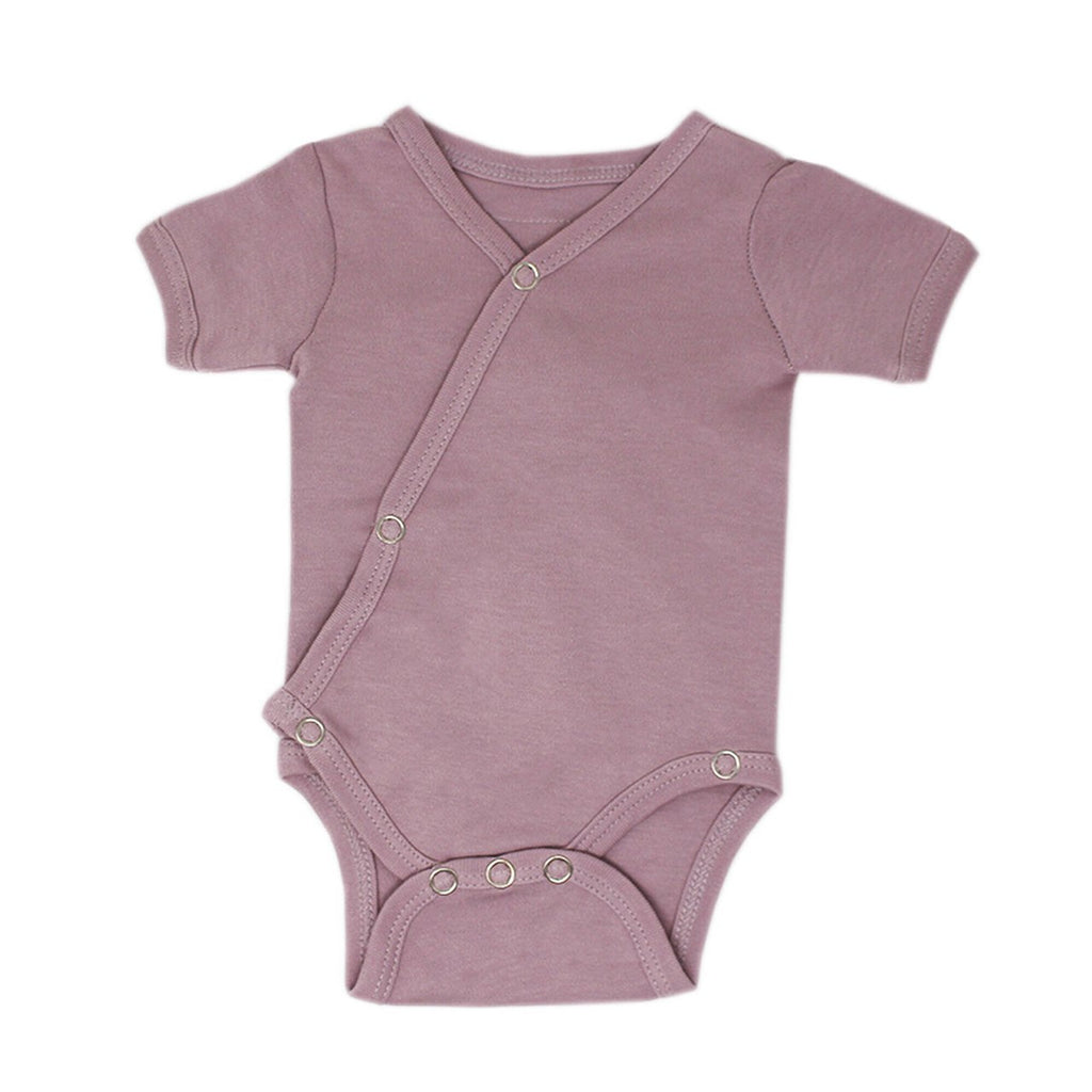 Loved Baby Organic Cotton Short-sleeved Kimono Bodysuit - Lavender