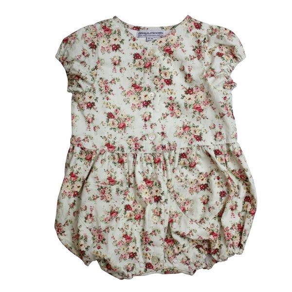Daisy and Moose Baby Clothes  Baby Balloon Onesie in Vintage Rose Print