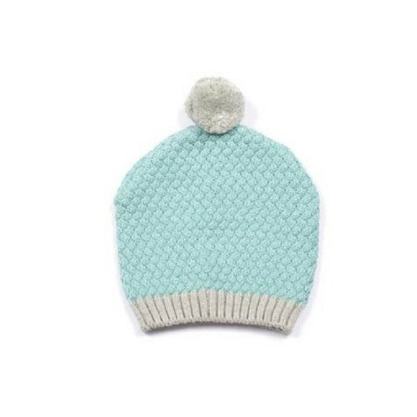 Baby Knitted Beanie with Pom Pom Aqua and Grey