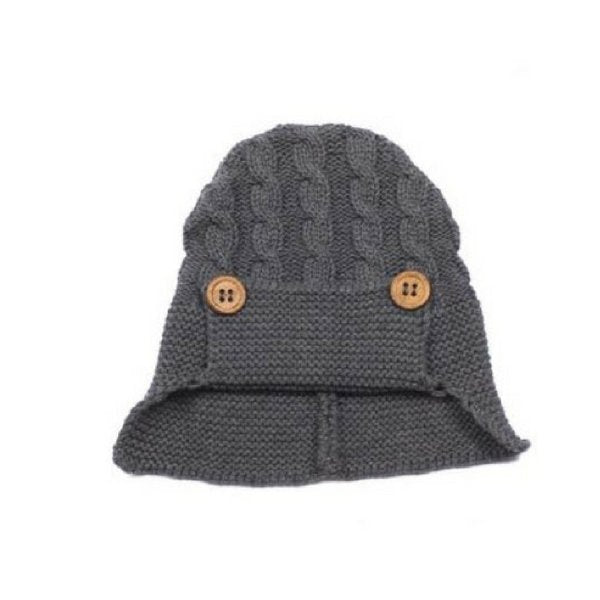Baby Knitted Hat with Buttons Grey