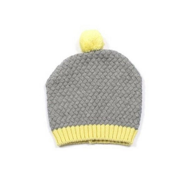 Baby Knitted Beanie with Pom Pom Grey and Yellow