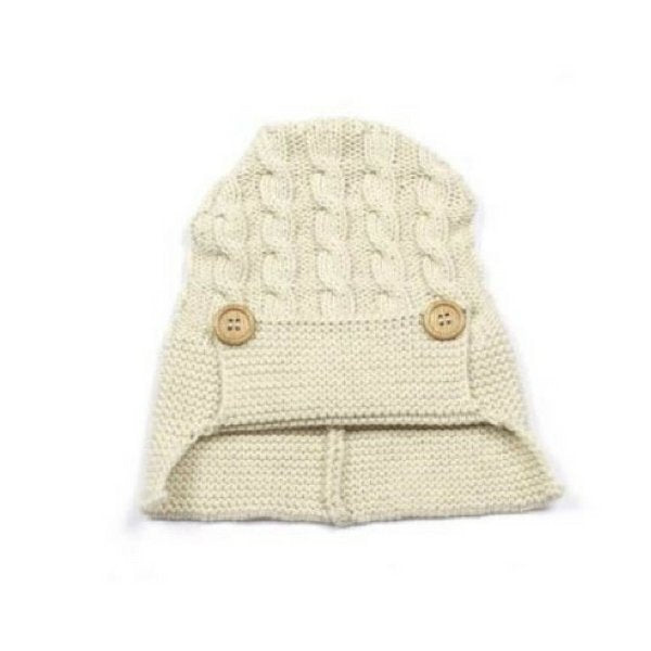 Baby Knitted Hat with Buttons Natural and White