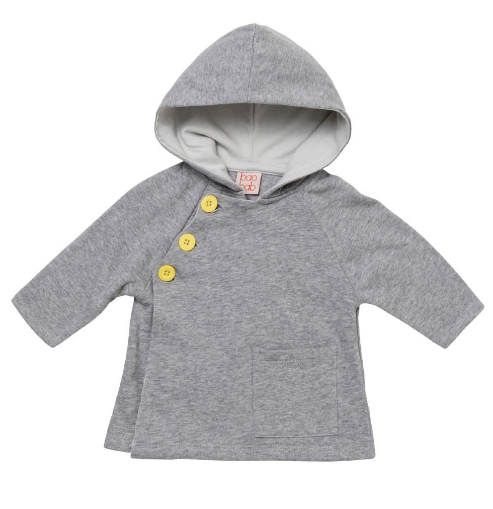 Baobab Organic Cotton Grey Hoodie With Buttons