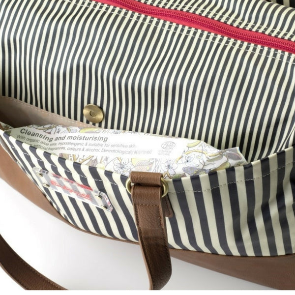 Babymel London Millie Navy Striped Nappy Bag