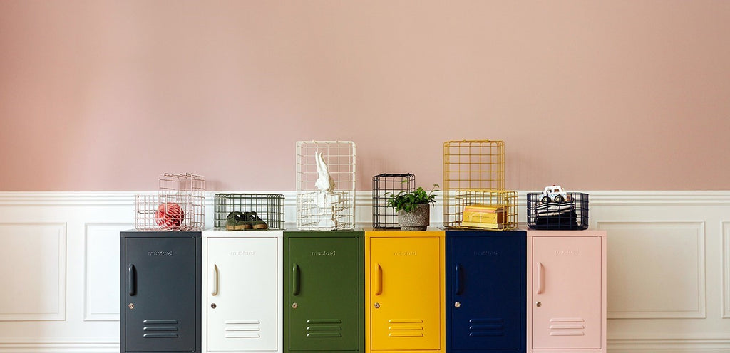 Mustard Made Lockers  Metal Basket Pack in Blush