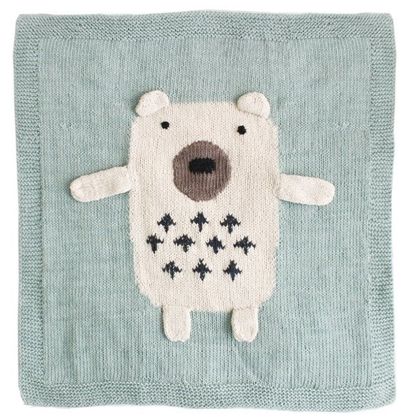 Cutie Bear Blue Baby Blanket