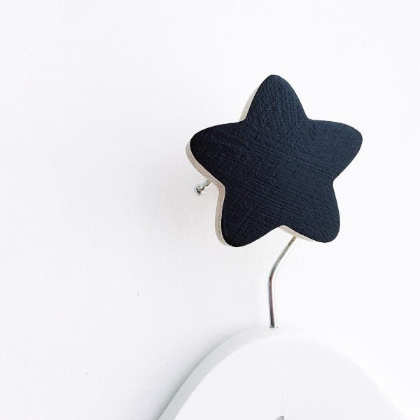 Knobbly Star Wooden Wall Hook   Black