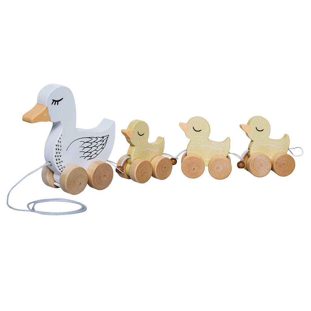 Bloomingville Mini - Wood Duck and Duckling Pull Along Toy