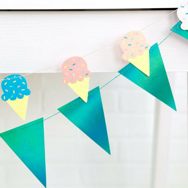 Kids Party Neon Blue Party Bunting Banner