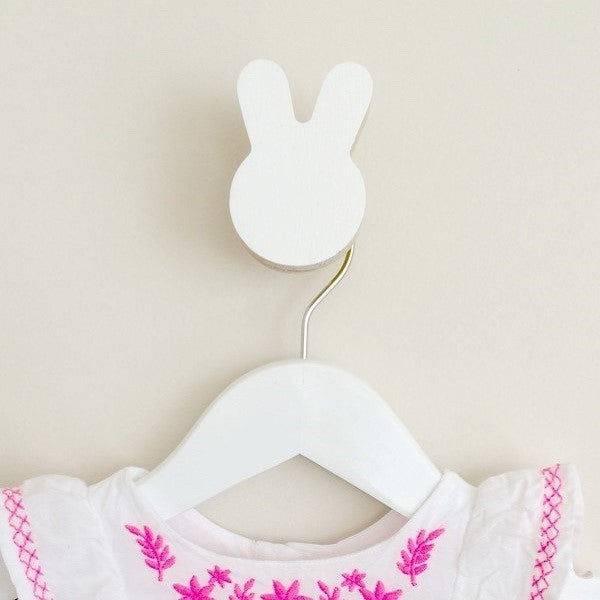 Knobbly Bunny Wooden Wall Hook   White