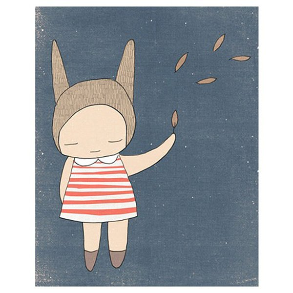 Nomuu Kids Wall Art  Bunny Girl Stripes Blue and Coral