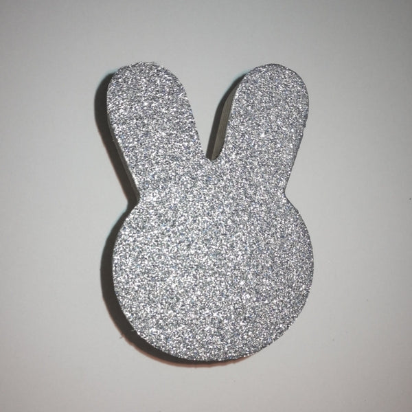 Knobbly Bunny Wooden Wall Hook   Silver Glitter