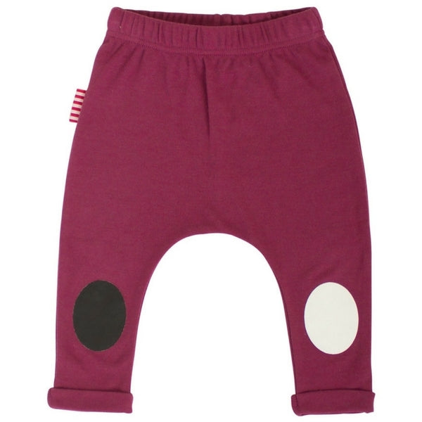 SOOKIbaby Burgundy Leggings With Knee Patches
