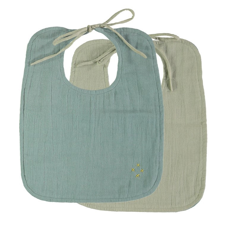 Camomile London Reversible Muslin Baby Bib - Light Teal and Mint