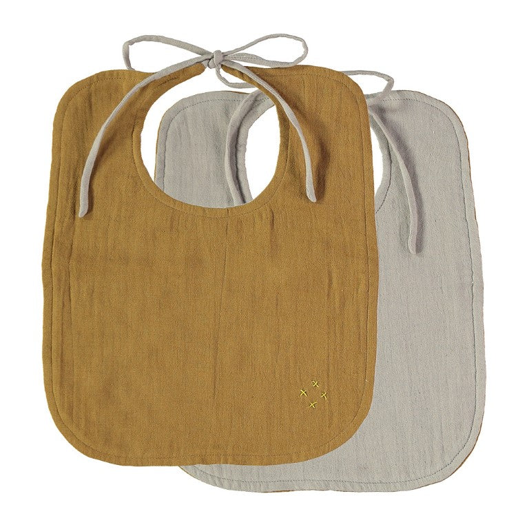 Camomile London Reversible Muslin Baby Bib - Ochre and Ash
