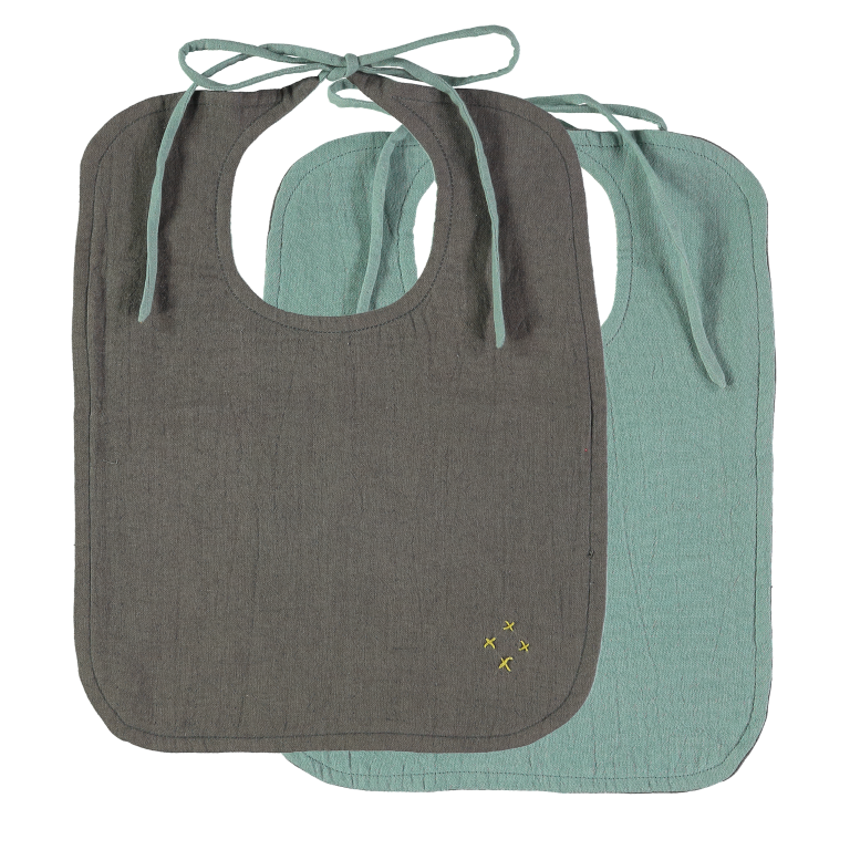 Camomile London Reversible Muslin Baby Bib - Slate and Light Teal