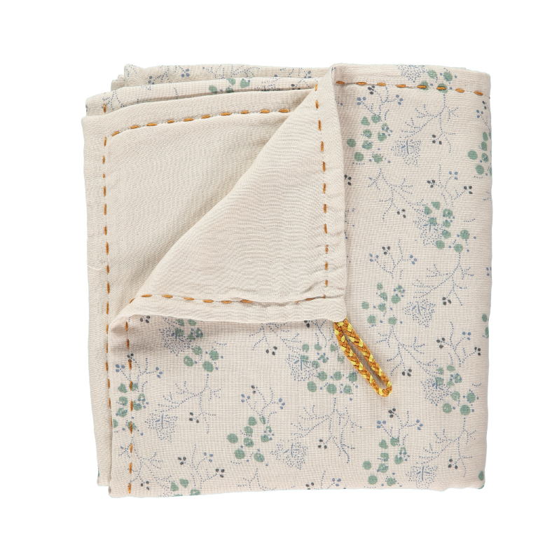 Camomile London Baby Swaddle Blanket - Minako Floral Teal