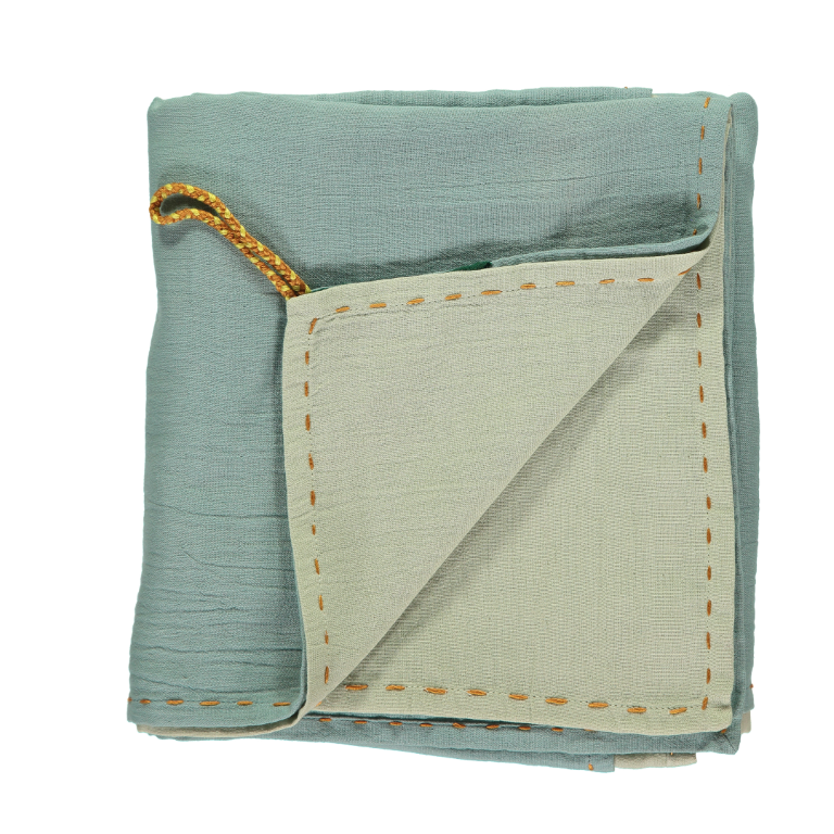 Camomile London Baby Swaddle Blanket - Mint and Teal