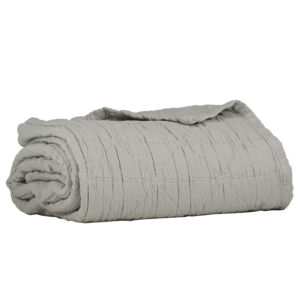 Camomile London Diamond Soft Cotton Single Size Blanket - Light Grey