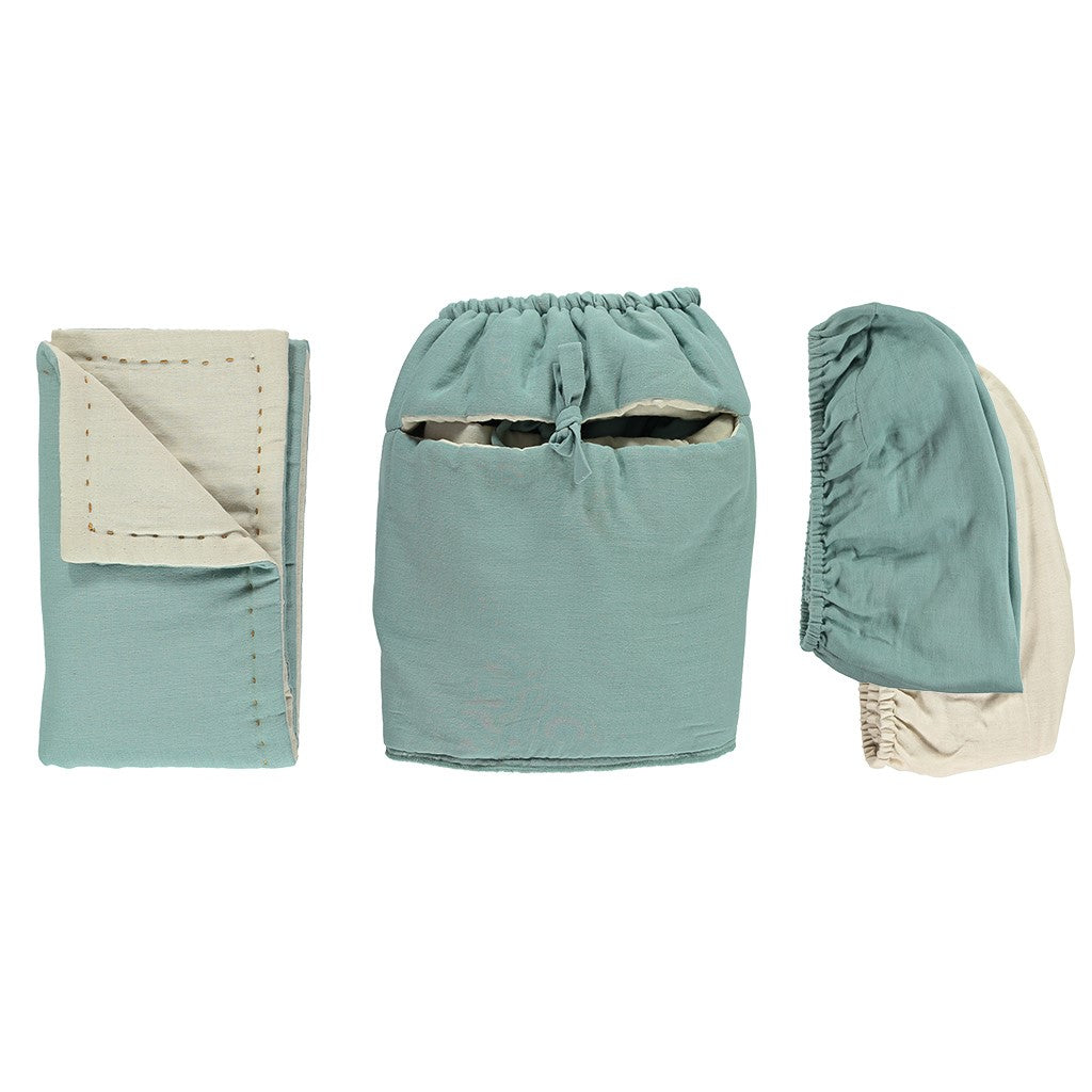 Camomile London Moses Basket and 4 Piece Bedding Set - Light Teal and Stone
