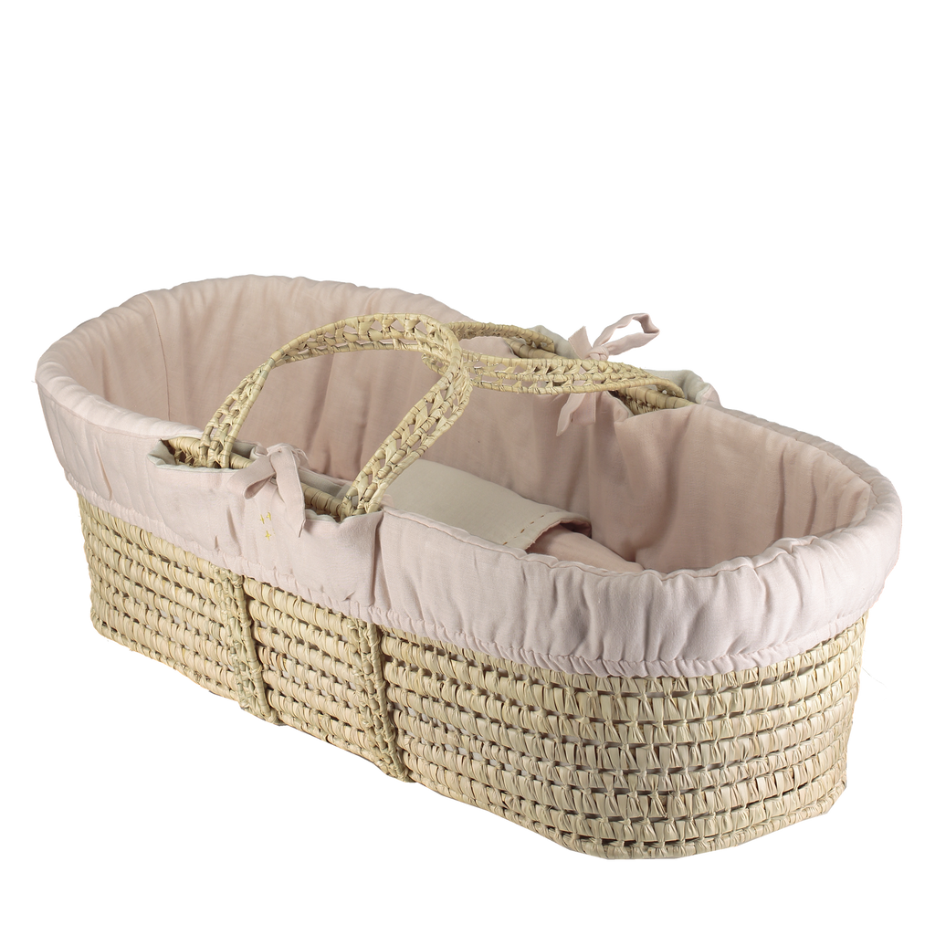 Camomile London Moses Basket and 4 Piece Bedding Set - Pink and Stone