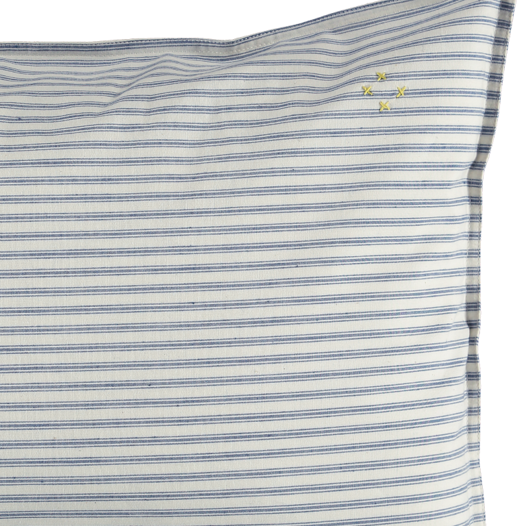 Camomile London Kid Bedding - Pillowcase in Ticking Stripe Blue